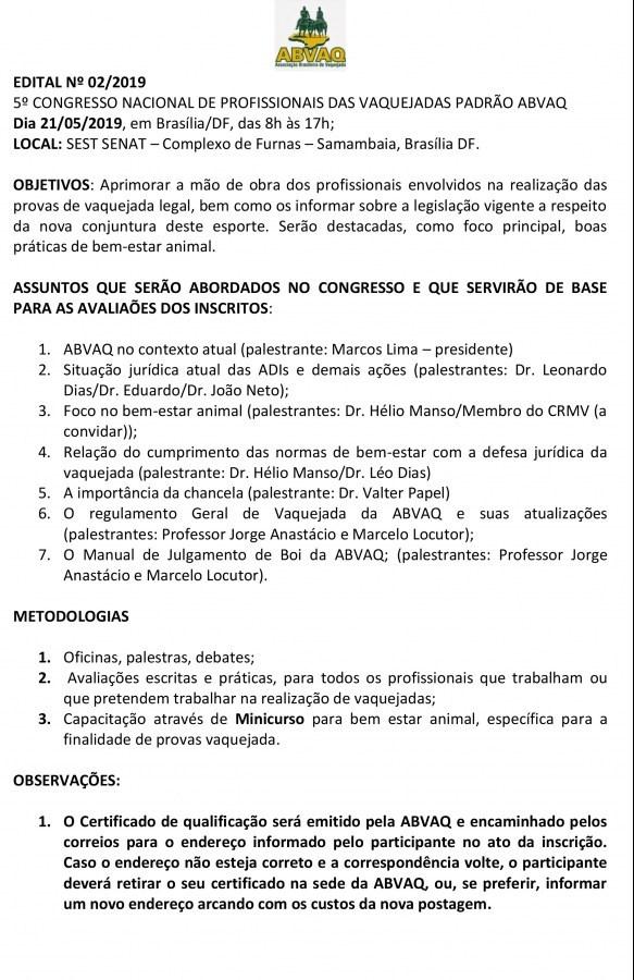 Edital Congresso ABVAQ, em Brasília