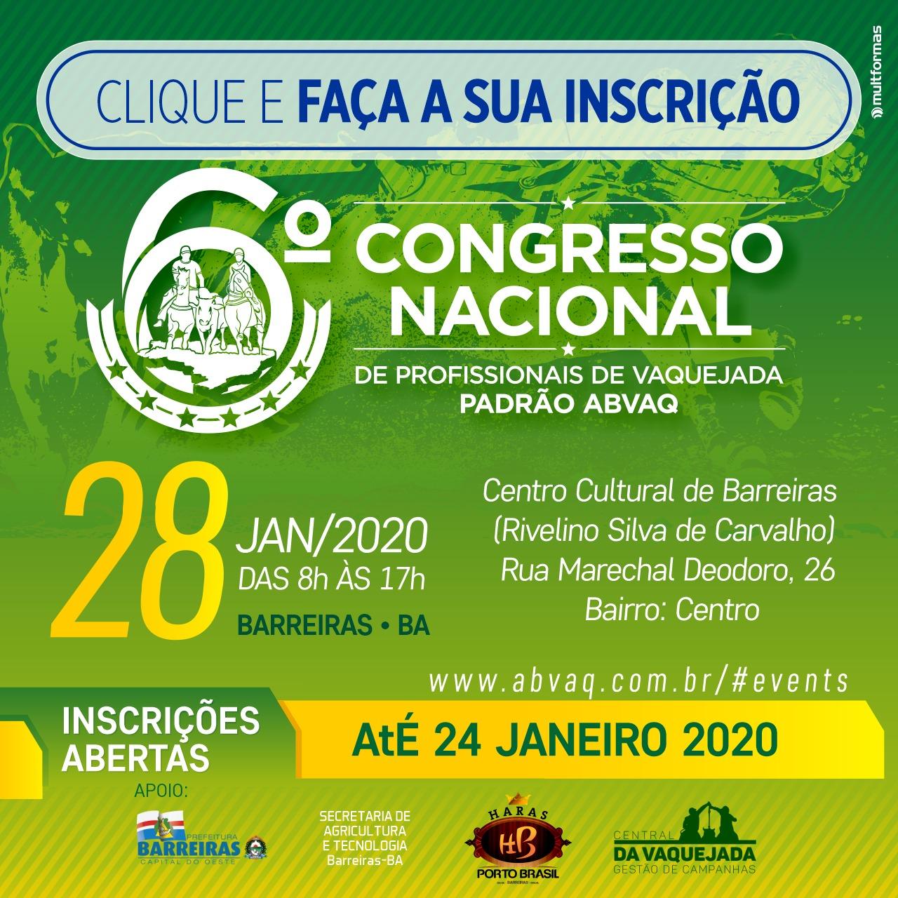 6º Congresso Nacional ABVAQ - Edição BARREIRAS - BA