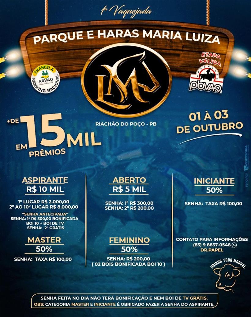 1ª Vaquejada Parque e Haras Maria Luiza