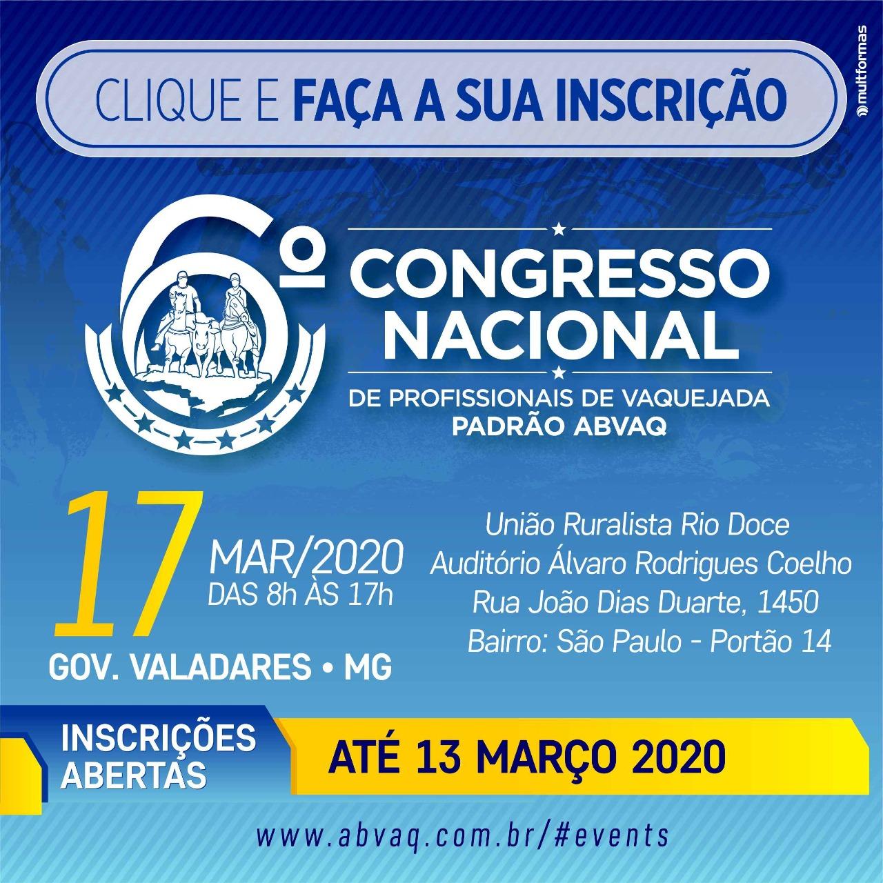 6º Congresso Nacional ABVAQ - Edição GOVERNADOR VALADARES - MG