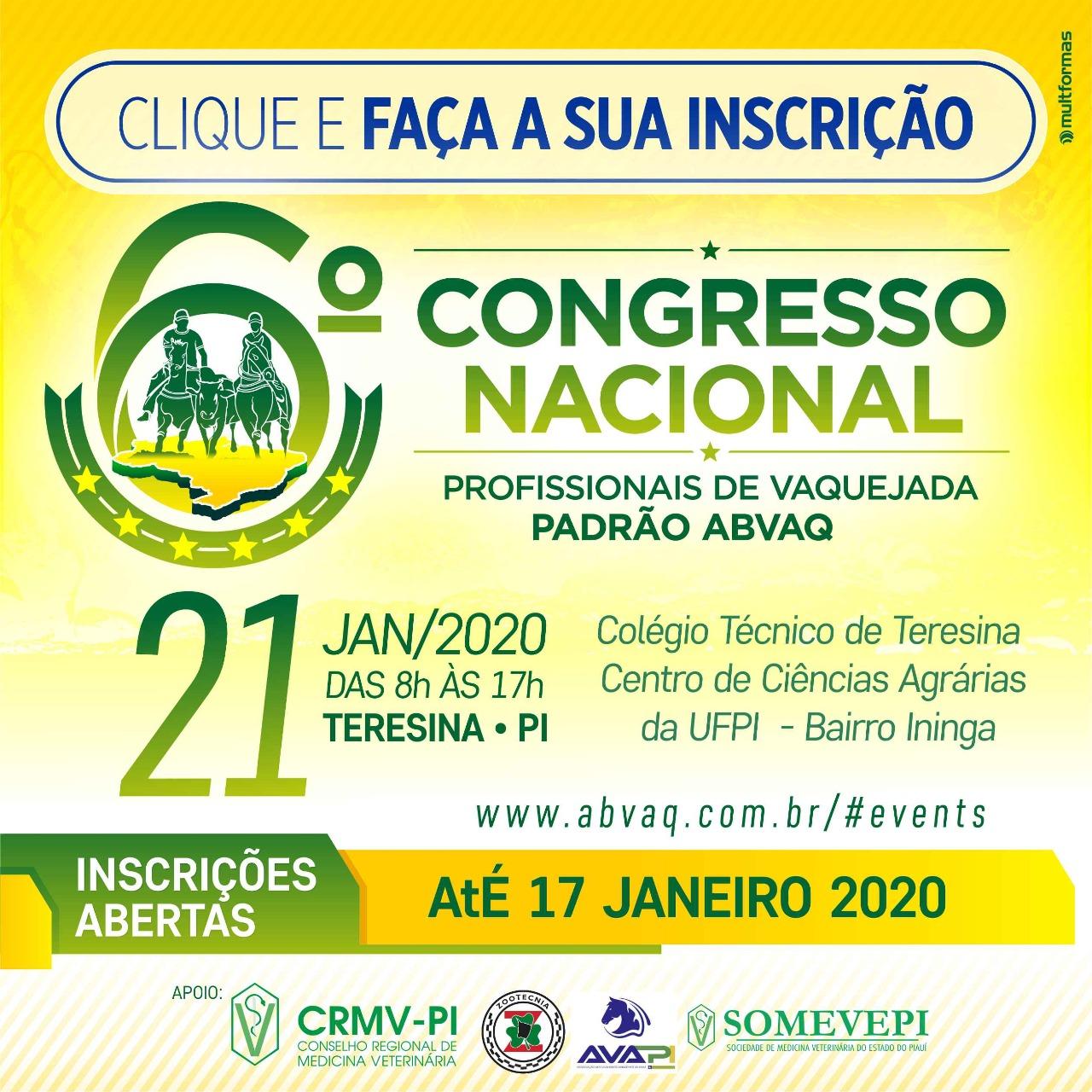 6º Congresso Nacional ABVAQ - Edição Teresina - PI